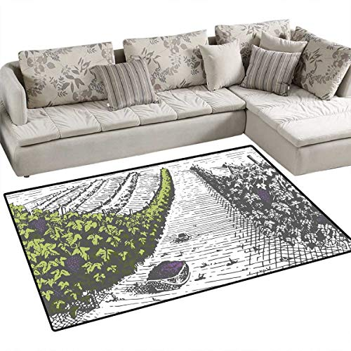 Tuscany Area Rugs for Bedroom Hand Drawn Style Vineyards Landscape Green Field Vintage Look Door Mats for Inside Non Slip Backing 48