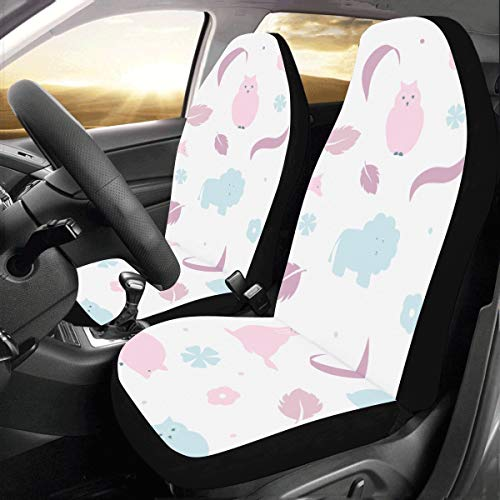 Giraffe Beautiful Animal Custom New Universal Fit Auto Drive Car Seat Covers Protector for Women Automobile Jeep Truck SUV Vehicle Full Set Accessories for Adult Baby (Set of 2 Front)