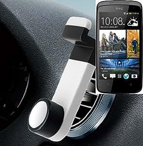 Smartphone universal Holder Holder / Car montaje / parabrisas para el HTC Desire 500. blanco. Titular de teléfono de la rejilla de ventilación se puede utilizar con los teléfonos inteligentes y las tabletas de 5.2 cm - 9,4 cm de ancho. Titular Smartphone ventilación Teléfono móvil Holder Soporte para coche Rejilla de ventilación Air Vent Monte ranura de ventilación Holder, envío de Alemania en un día laborable