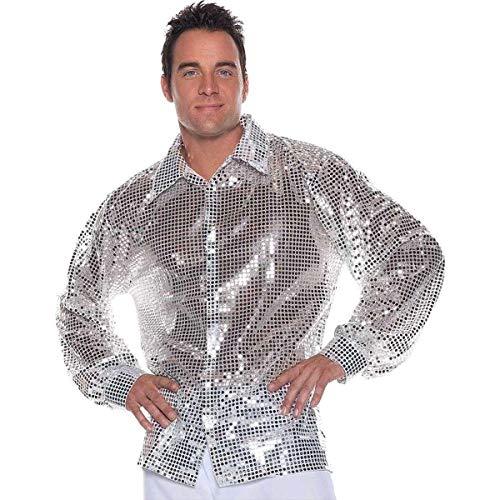 Underwraps Men's Plus-Size Sequin Jacket, Silver, XX-Large