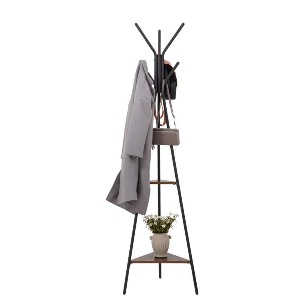 ZHILIAN& Coat Rack Black Floor-Standing Large-Capacity Solid Wood Storage Rack Multi-Function Rack at Home Entrance