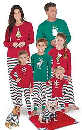 PajamaGram Holiday Stripe Matching Family Pajama Set, Red/Green, Womens XS (2-4)