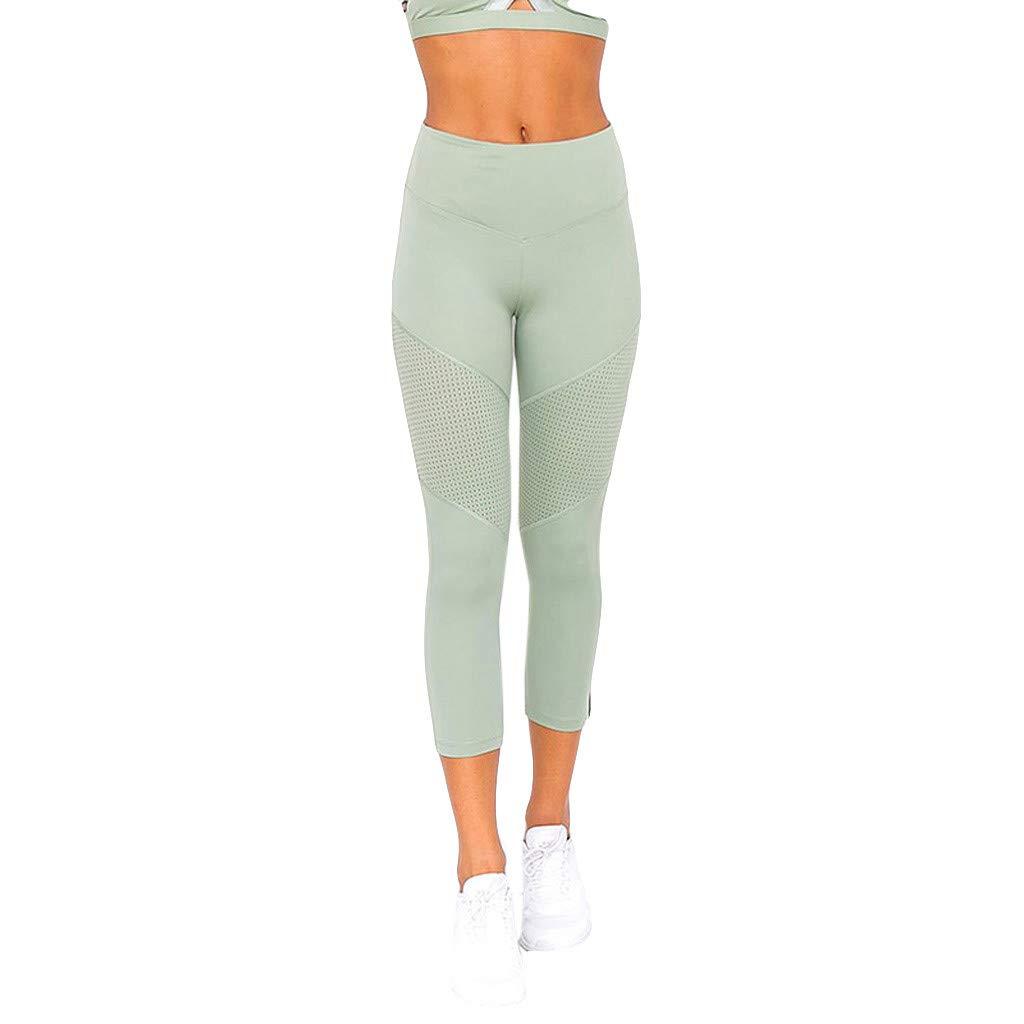 Ymibull Women Plain-Color Stitching Yoga Pants Sports Exercise Fitness Tight Leggings Nine-Minute Pants (Green, L)