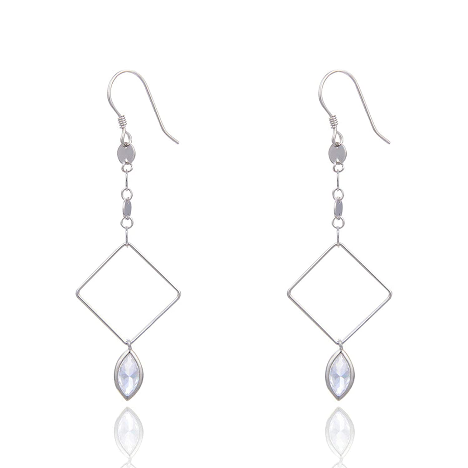 AmDxD Jewelry Earring for Girls Sterling Silver Silver Hollow Square Zirconia Dangle Earrings for Women Fashion 59.7x20MM