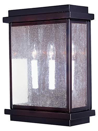 Three Light Burnished Seedy Glass Outdoor Wall Light