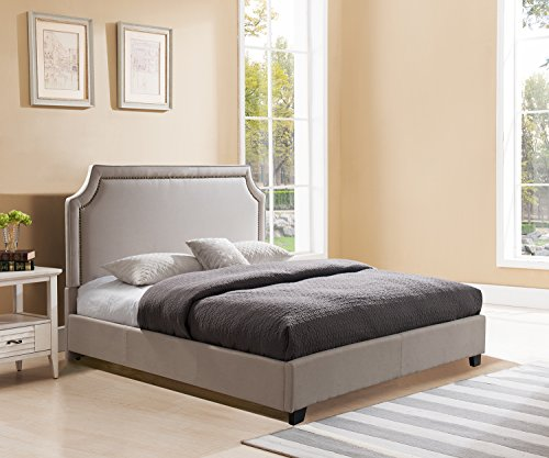 Mantua Brossard Upholstered Platform Bed, Queen, Taupe,