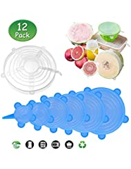 DB Degbit Silicone Stretch Lids, [12 Pack] Reusable Lids Fit Various Sizes & Shapes of Containers, Durable & Expandable Food Covers to Keep Food Fresh, Silicone Bowl Covers, Dishwasher & Freezer Safe