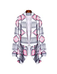 Susenstone®Women Geometric Printed Long Cotton Cardigan Coat (S)