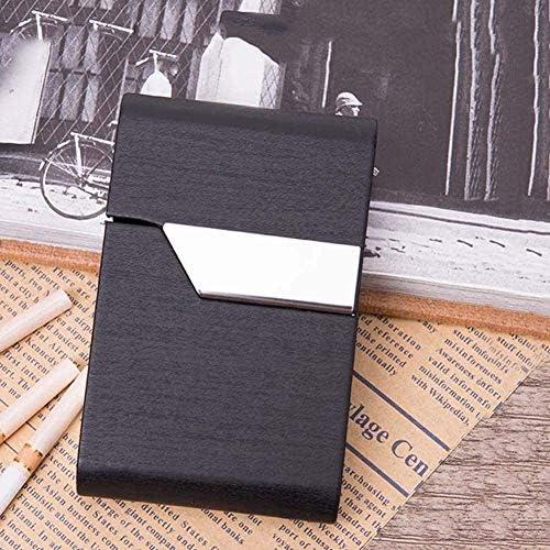 YURU Estuche para Cigarrillos Cuero Negro Porta Cigarrillos Anti-aplastado Marco Metal con Interruptor Magnético Paquetes Creativos Regalos para Fumadores: Amazon.es: Hogar