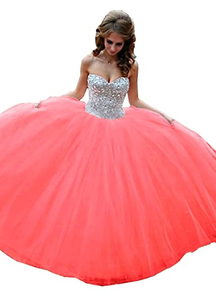 Cloverdresses Womens Beaded Ball Gown Quinceanera Party Dresses 15 28 Anos Pageant Long Prom