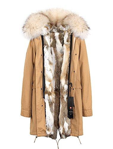 (Melody Women's Raccoon Fur Collar Hooded Long Coat Parkas Outwear Rabbit Fur Lining Winter Jacket (XXX-Large, Khaki Natural + White 2))