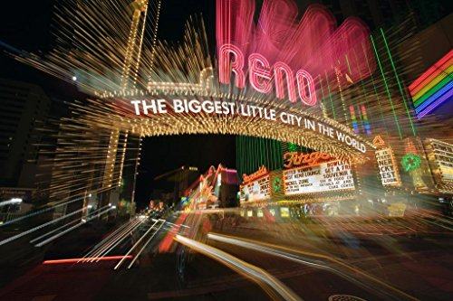 (Reno Nevada Biggest Little City in World Neon Sign Blurred Motion Photo Art Print Mural Giant Poster 54x36 inch)