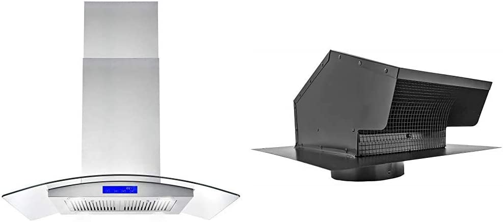 "Cosmo 668ICS900 36 in. Ducted Island Range Hood, Stainless Steel & Builder's Best 012633 Galvanized Steel Roof Vent Cap with Removable Screen & Damper, 6"" Diameter Collar, Black"