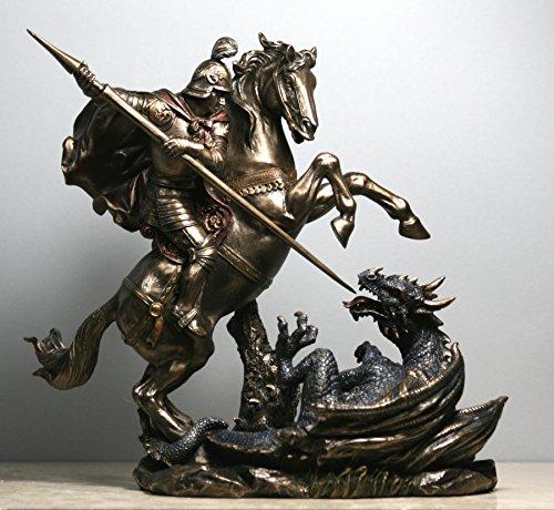 (Veronese Saint George Killing The Dragon Roman Soldier Statue Figure Bronze Finish)