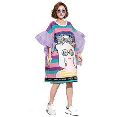 b22dd008b049 Purple Cartoon Printing T-Shirt Dress Women Flare Sleeve Dress Knee Length  Dress
