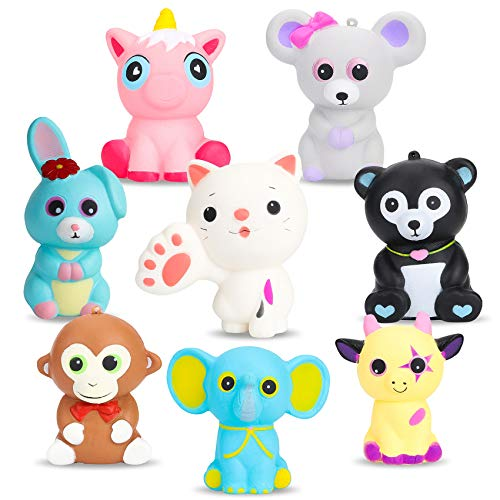 BeYumi Slow Rising Squishy, 8 PCS Colorful Animal Squishy Toys, Kawaii Mouse + Black Bear + Pink Unicorn + Elephant + Rabbit + Cow + Monkey + Cat Cream Scented Simulation Cute Animals Toys