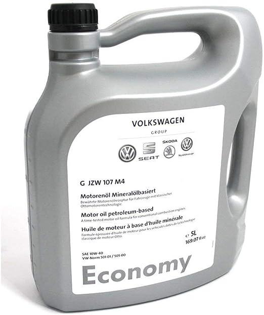 Volkswagen Economy SAE 10 W-40 Original antifricción aceite Norma 501 01 505 00 Otto Motores 5 litros gjzw107 m4: Amazon.es: Coche y moto