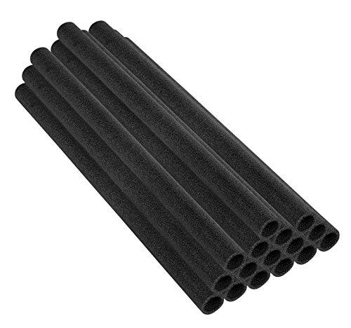 Upper Bounce Trampoline Pole Foam Sleeves for 1.5-Inch Diameter Pole (Set of 16), Black, 44-Inch