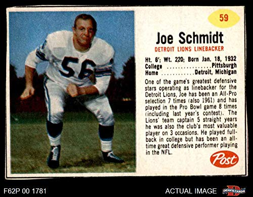 Joe Schmidt Detroit Lions - 1962 Post Cereal # 59 Joe Schmidt Detroit Lions (Football Card) Dean's Cards 4 - VG/EX Lions