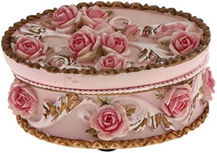 樹脂 楕円形 ジュエリー箱 バラの花飾り 小物入れ バレンタインデー ギフト テーブル センターピース