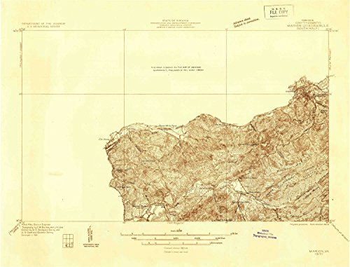 YellowMaps Marion VA topo map, 1:48000 scale, 15 X 15 Minute, Historical, 1931, 15.9 x 20.9 IN - Tyvek -