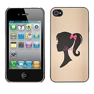 For Apple iPhone 4 / iPhone 4S / 4S Case , Ribbon Brown Silhouette Lady - Diseño Patrón Teléfono Caso Cubierta Case Bumper Duro Protección Case Cover Funda