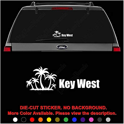 Key West Florida Palm Trees Die Cut Vinyl Decal Sticker for Car Truck Motorcycle Vehicle Window Bumper Wall Decor Laptop Helmet Size- [6 inch] / [15 cm] Wide || Color- Gloss White