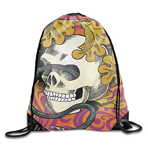 (Print Drawstring Backpack Human Skull Entwined By Snake Sack Shoulder Gym Bag)