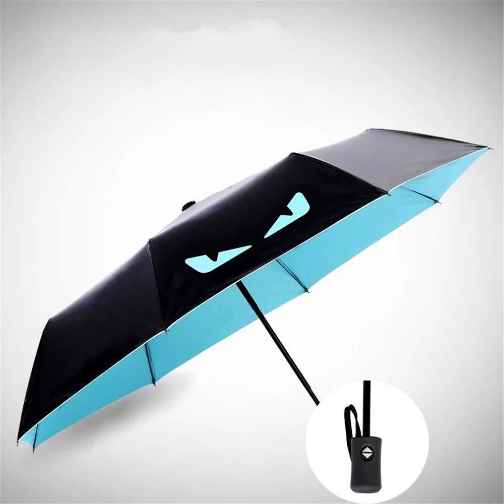 -Doble Capa Paraguas Paraguas Plegable Z-Y El Setenta por Ciento De Monstruo Bolsillo Peque/ño Paraguas Demonio Paraguas De Sol Paraguas,Automatic Purple Black Gel
