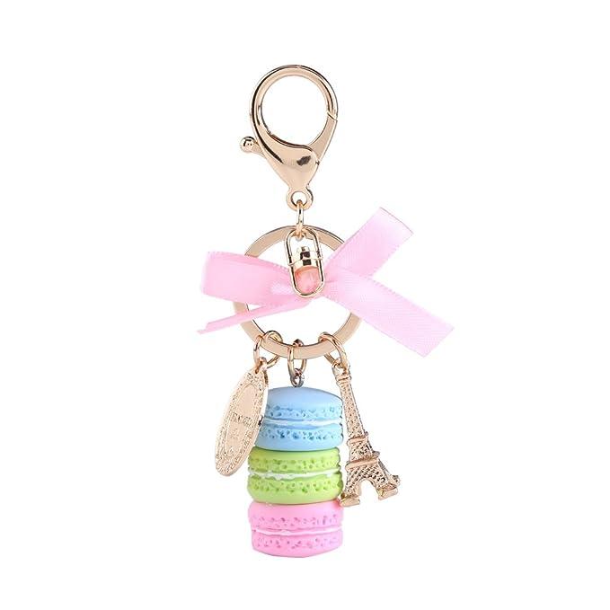 Walfront Colorful Cute Macaron Keychain Ring Eiffel Tower Macaron Charm Keychain Bag Purse Decoration for Children Birthday Gift