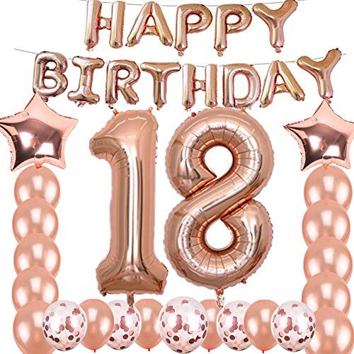 18th Birthday Decorations Party Supplies, Jumbo Rose Gold Foil Balloons for Birthday Party Supplies,Anniversary Events Decorations and Graduation Decorations Sweet 18 Party,18th Anniversary