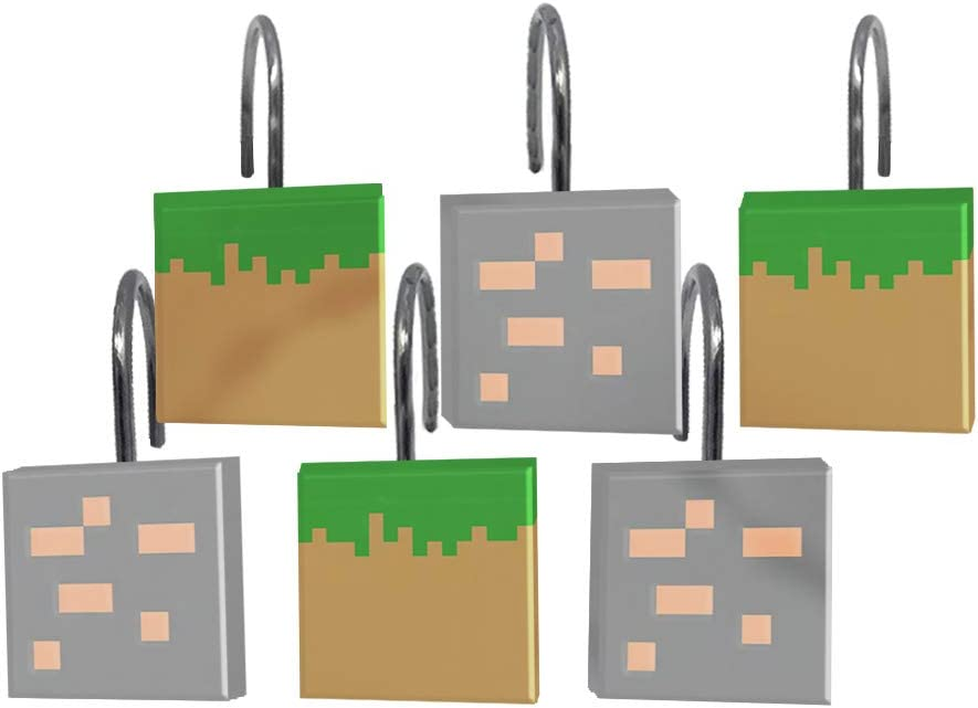 Official Minecraft Product Jay Franco Minecraft Survive Shower Curtain /& 12-Piece Hook Set /& Easy Use