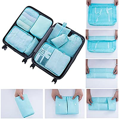 RedSonics(TM) 8Pcs/set Luggage Travel Storage Bags Packing Cubes Organizer Men and Women Fashion Double Zipper Mesh Bag