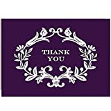 PAPER SOURCE // DELUXE BOXED STATIONERY // AUBERGINE (PURPLE) WITH WHITE FLORAL FRAMED THANK YOU NOTE CARDS // Flower,Elegant,scoll,spring,party,invite,thank you