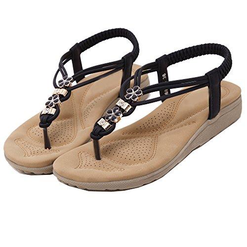 Rhinestones Negro Flores Zapatos de sandalia las mujeres De estilos Bohemia De chancletas Z8FnR