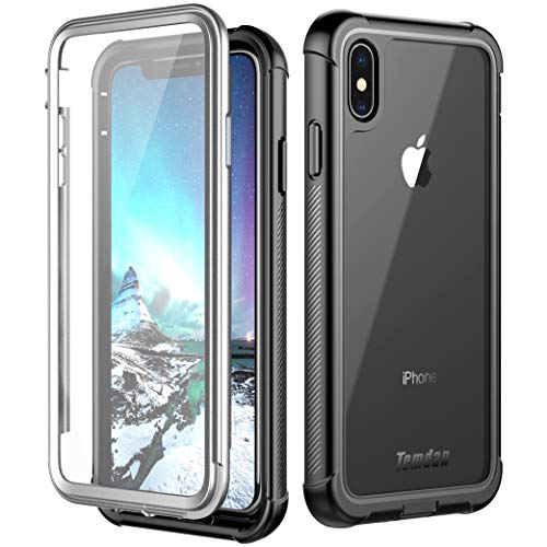 iPhone Xs Max Case, Temdan Built in Screen Protector Full Body Protect Clear Bumper Case Support Wireless Charging, Heavy Duty Rugged Dropproof Case for iPhone Xs Max 2018 (6.5inch)