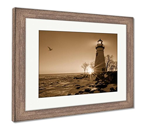Ashley Framed Prints Marblehead Lighthouse Sunrise, Wall Art Home Decoration, Sepia, 26x30 (Frame Size), Rustic Barn Wood Frame, ()