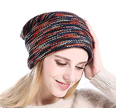 a458d89cb0f Acexy Womens Knitted Beanie Thicken Fleece Lining Hat Winter Skull Cap for Lady  Ladies Knit Slouch Winter Hat Beanie (Blue)  Amazon.co.uk  Clothing