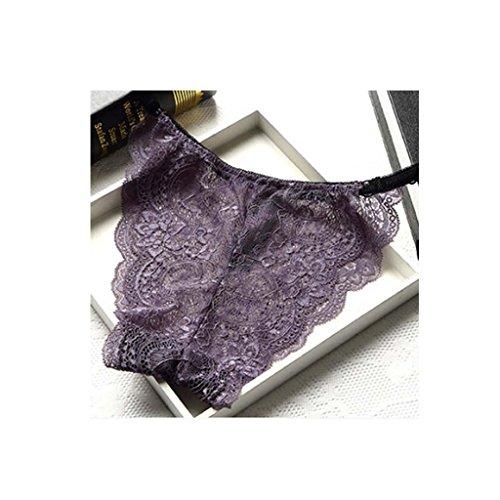 encaje de algodón puro ropa interior femenina sin dejar rastro calzoncillos de cintura baja completa tanga transparente 5 paquete (es el código) , g , 1.7-2.3 waist circumference f