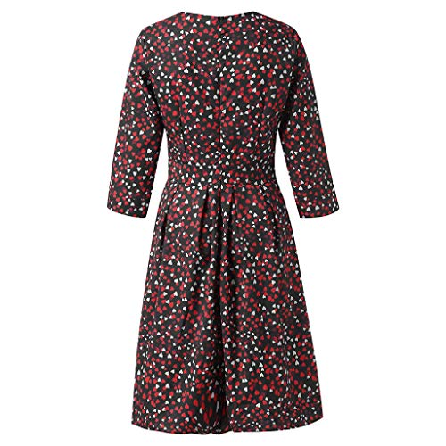 Women's Love Floral Fashion Casual Mini Skirt Women's Floral Cropped Sleeve Vintage Dress Evening Dress Red by Lloopyting (Image #2)