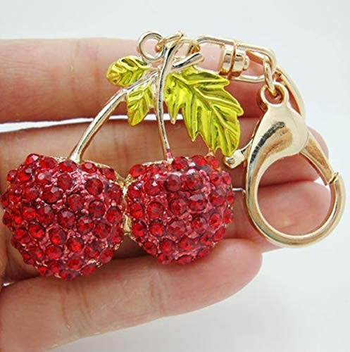 1 Pack Crystal Rhinestones Double Red Cherry Keyring Gift Pendant Girls Keys Hook Hooks Key Tag Supreme Popular Pocket Bag Car Keychains - Zodiac Power Pendant