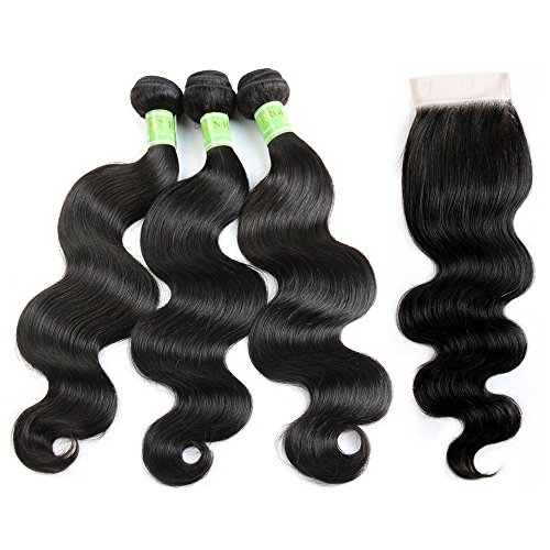 (Hair Brazilian Body Wave With Closure Natural Color Golden Rule(22