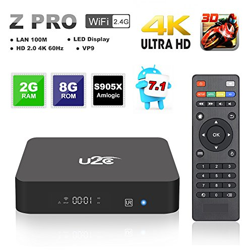 Android Tv Box 2gb Ram 8gb Rom,Z Pro Android 7.1 Smart Tv Box 64 Bit Amlogic Quad Core 4K Ultra HD 2.4G Wifi (2017Update) by U2C