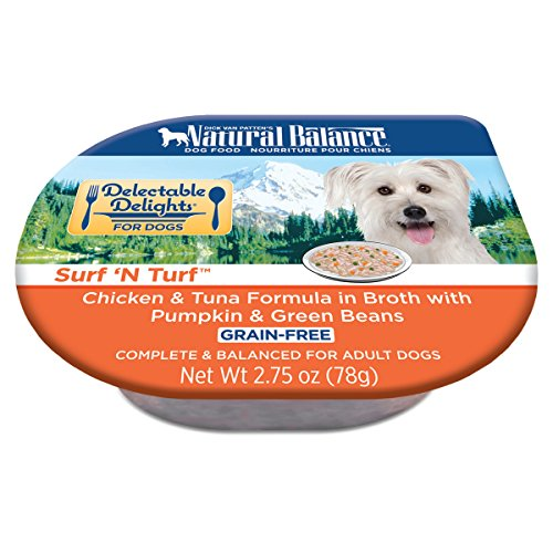 Natural Balance Delectable Delights Wet Dog Food Cups, Surf N Turf Chicken Tuna Formula In Broth With Pumpkin And Green Beans Wet Dog Food, 2.75 Oz (Pack Of 24)