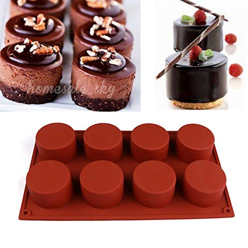 - Silicone Molds Baking Chocolate Candies Dessert Cake or Soap Candle Molds (Brown, Cylinder)