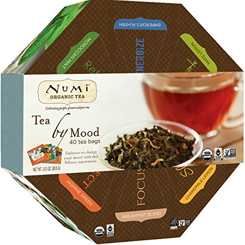 Numi Organic Tea By Mood Gift Set, Tea Gift Box, 40 bags, Assortment of Premium Organic Black, Pu-erh, Green, Mate, Rooibos, Herbal Tea Variety Pack, Non-GMO Biodegradable Tea Bag (Packaging May Vary)