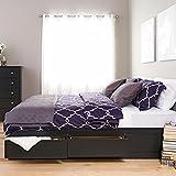 Prepac Black King Mate's Platform Storage Bed with 6 Drawers