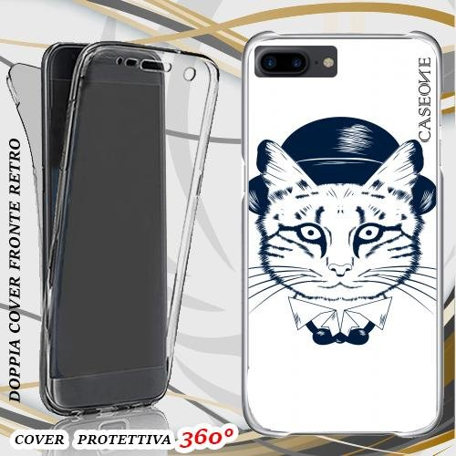 CUSTODIA COVER CASE VINTAGE CAT WHITE PER IPHONE 7 PLUS FRONT BACK