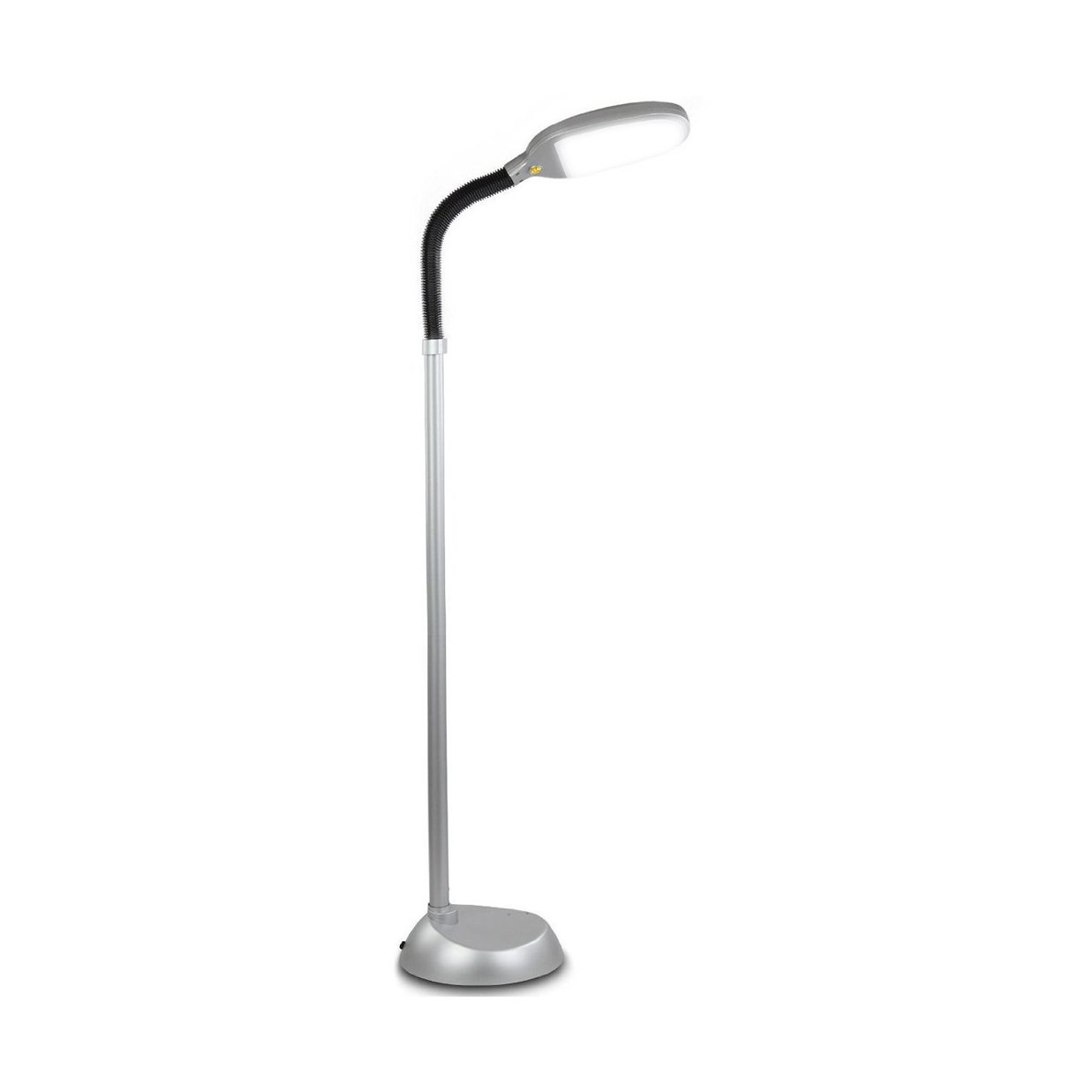 Brightech Litespan LED Bright Reading and Craft Floor Lamp - Modern Standing Pole Light - Dimmable, Adjustable Gooseneck Task Lighting Great in Sewing Rooms, Bedrooms – Titanium Silver