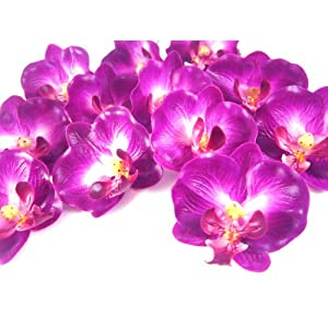 "(100) Small Purple Phalaenopsis Orchid Silk Flower Heads - 2"" - Artificial Flowers Heads Fabric Floral Supplies Wholesale Lot for Wedding Flowers Accessories Make Bridal Hair Clips Headbands Dress 2"